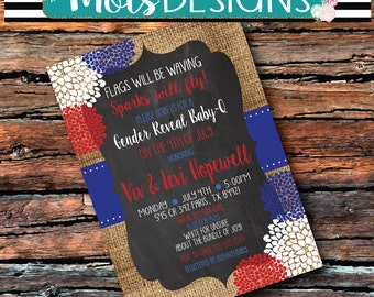 Couple GENDER REVEAL BARBEQUE Baby Shower Red White Blue Bbq July 4th Fourth Bridal Star Baby Birthday Engagement Rehearsal Party Invitation