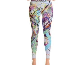 SGRIB Print Women's Fashion Yoga Leggings - xs-xl sizes - design number sixteen - on lightgray
