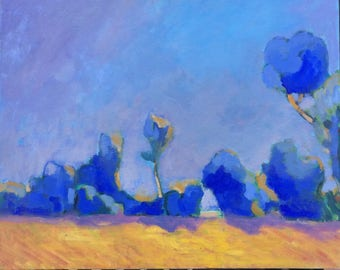 Blue trees - Oil Painting-Original Art