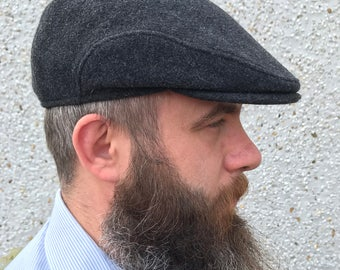 Traditional Irish flat cap-FREE WORLDWIDE SHIPPING-Irish Tweed-100% wool-charcoal -with ear flaps - ready for shipping - Handmade in Ireland