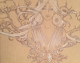 Original Drawing Inktober Ink and Color Pencil Sketch Art Pagan Goddess Demeter with Plants and Trees Lady of April Birthstone Art