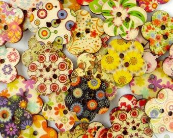 50/500pcs Multi-Colors Flower Shape Wood Buttons Lot 24MM Craft/kids Sewing DIY