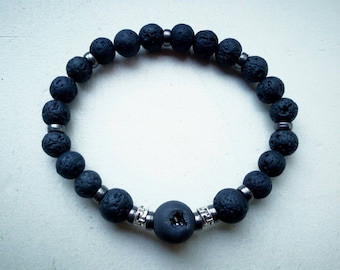 Druzzy agate and lava rock amulet bracelet