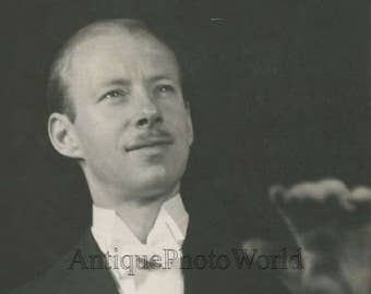 Ray Noble jazz band leader conducting antique candid photo