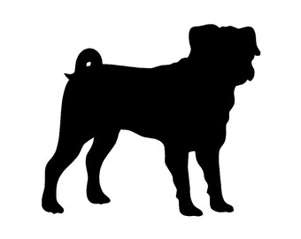Pug Dog Breed Silhouette Custom Die Cut Vinyl Decal Sticker - Choose your Color and Size