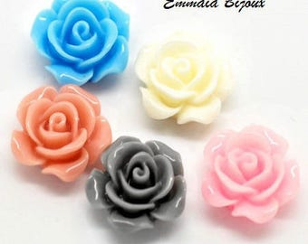 2 14mm x 6mm resin flower cabochons