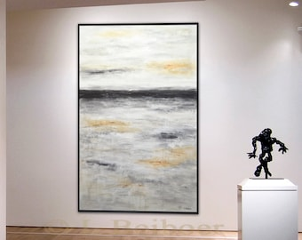 Large landscape painting modern abstract painting original xxl landscape gray abstract 36 x 60 acrylic painting by L.Beiboer