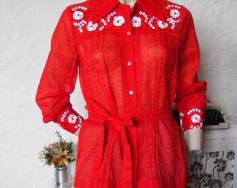 Hippie-cowgirl red blouse with embroidery size 12
