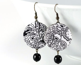 Dangle Earrings - Art Deco Day - Black and White Flowers - Romantic Fabric Covered Buttons Earrings, Classic Czech Beads, Elegant Jewelry