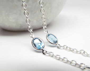 Silver Eyeglass Chain with Aquamarine Blue Swarovski; Reading Glasses Necklace; Eyeglass Holder; Silver Glasses Chain; Cord for Readers