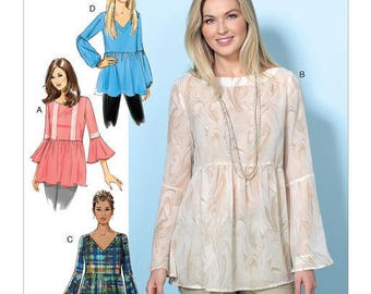 Butterick Pattern B6486 Misses' Loose-Fitting, Gathered Waist Pullover Tops with Bell Sleeves