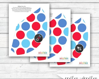 First Birthday Party Hats, 1st Birthday, Boy's First Birthday, Printable Party Hats, Instant Download, Red, Blue and Turquoise Polka Dots