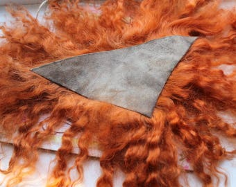 Doll hair natural ginger goatskin angora mohair locks perfect doll hair handdyed