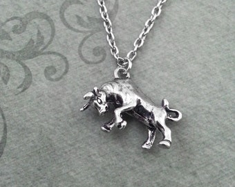 Bull Necklace VERY SMALL Silver Bull Jewelry Bullfighter Necklace Matador Necklace Bullfighting Gift Spanish Jewelry Father's Day Necklace