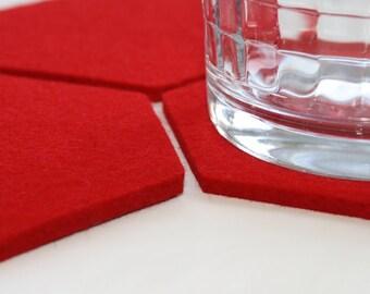 Coasters for Home Desk Drinks Absorbent Hexagon Drink Felt Coasters 5mm Thick Virgin Merino Wool Felt Housewares Home Honeycomb Decor