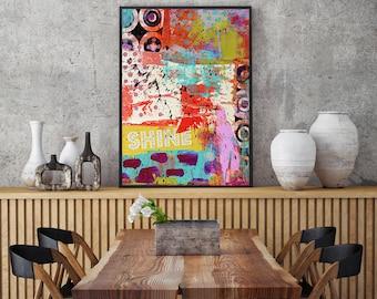 colorful abstract, mid century modern, mid century art, Geometric art, contemporary art, Scandinavian art, retro art, poster print