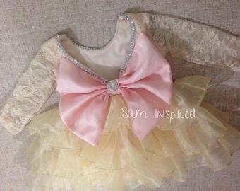 Ivory dress / lace dress / big bow dress /