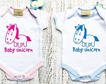 Baby Bodysuit with cute unicorn for Baby girl or baby boy.