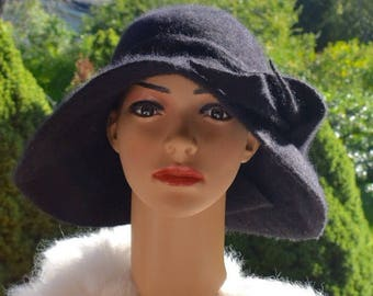 Cashmere Black Hat Wide Brim Felted 100% Wool from Cashmere goats Winter Vintage style Funeral Art Handmade