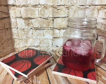 Basketball  Tile Drink Coasters, drink coasters, tile coasters, basketball, sports, coasters, sports coasters, basketball drink coasters
