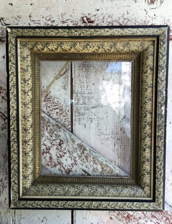 Antike Rahmen schwarz grau melierte Holzrahmen mit Glas sehr