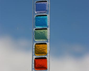 Chakra suncatcher, a fused glass sun catcher with the seven chakras, rainbow suncatcher