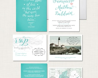 Portland Maine Wedding Invitation Set coastal wedding lighthouse and vintage map Destination wedding invitation- Deposit Payment