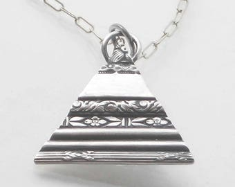 Triangle Charm Pendant, Charm Necklace Initials, Valentines Day, Multi Charm Necklace, Silver, Floral Embossed Pattern, Charm Necklace Charm