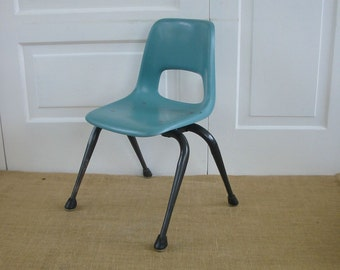 Vintage Child Chair Aqua Blue Mod Retro