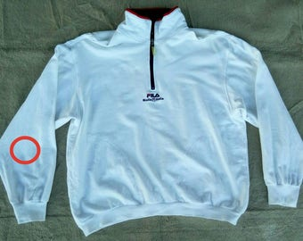 Vtg FILA 1/4 Zip Pullover White Sweater Made In Japan