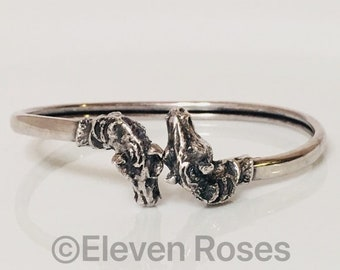 Vintage 925 Sterling Silver Horse Head Wrap Cuff Bangle Bracelet Free US Shipping