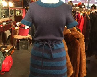 Wool Blue 60's Dress