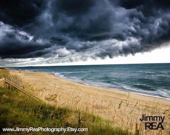 Outer Banks storm photograph wall decor, North Carolina photo, beach photography, romantic coastal fine art photography,cloud image,weather