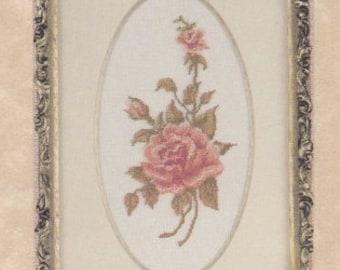 Helen Burgess Counted Thread Design. Peach Rose Pattern. HB4082.