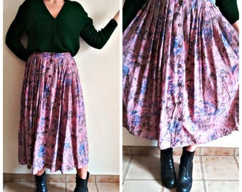 Woman ACCORDION SKIRT Vintage 70 IBLUES Made in Italy Pink Floral Pleated Maxi-Skirt Button Up sz. 40