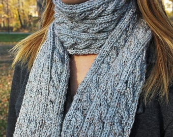 Light Gray Heather Chunky Knit Cable Scarf - Grey Vegan Scarf for Fall and Winter - Boho Warm Classic Hipster - Womens Gift - Gift for Her