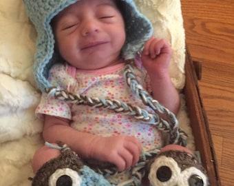 Light Blue and Brown Crochet Owl Hat W/Leg Warmers