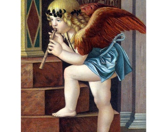 Christmas Angel Card - Cherub Plays Flute or Recorder - Giovanni Bellini Detail