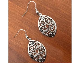 Silver filigree Earrings, Gifts for Mom, Teardrop Earrings, Hypoallergenic Jewelry, Stainless Steel Hook Earrings