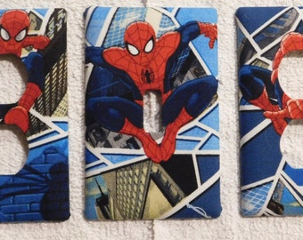 Spiderman Light Switch Plate Outlet Plug Cover Custom Rocker Cable Protective Plug Inserts