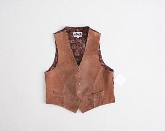 honey brown vest | suede leather vest | 90s suede vest