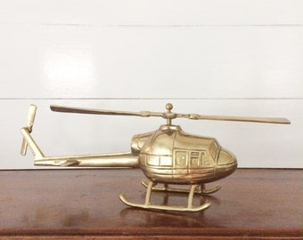 Vintage 1960s Solid Brass Helicopter with Moving Propellers