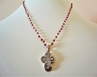 950 Antique Silver Cross with Amethyst and Zircon. 950 Silver Greek Cross Pendant. 925 Sterling Silver Necklace. Purple Amethyst Necklace.