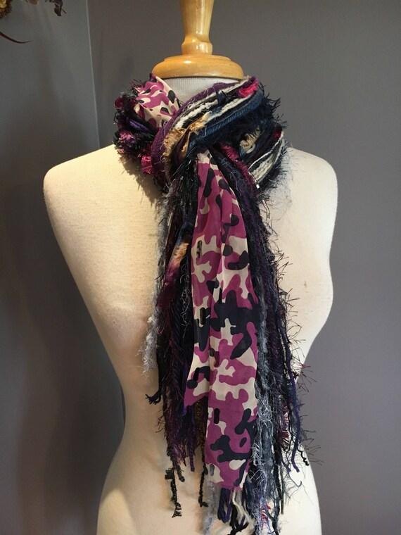 Fringie Scarf, Very Berry, Knotted handmade Scarf, Purple Fuscia black blue, fringe scarf, boho fashion, accessories, ribbon scarf, pattern
