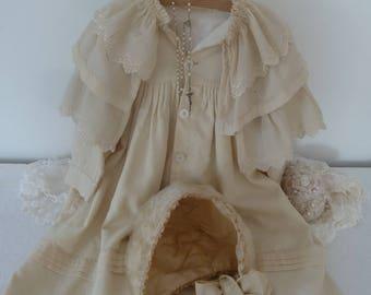 Rarity! Antique coat with cape & bonnet Silk 19th century vintage Victorian style Edwardian style bonnet hat
