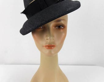 Black Straw Modified Fedora with Grosgrain Trim