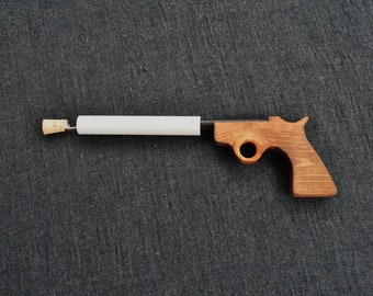 Pistol Pop, popgun, wooden gun, pretend play, handmade