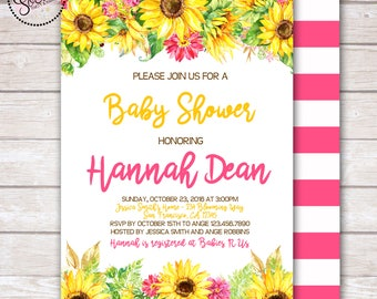 Watercolor Sunflowers Baby Girl Shower Invitation DIGITAL OR PRINTED
