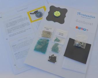 BEADWORK KIT: Sunburst Bead Embroidery Necklace (Teal/Black/Silver)