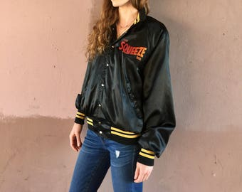 Vintage THE SQUEEZE BOX Bomber Jacket Black